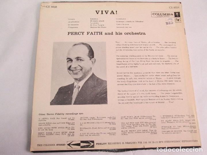 Discos de vinilo: PERCY FAITH AND HIS ORCHESTRA. THE MUSIC OF MEXICO. LP VINILO. COLUMBIA - Foto 9 - 113608799