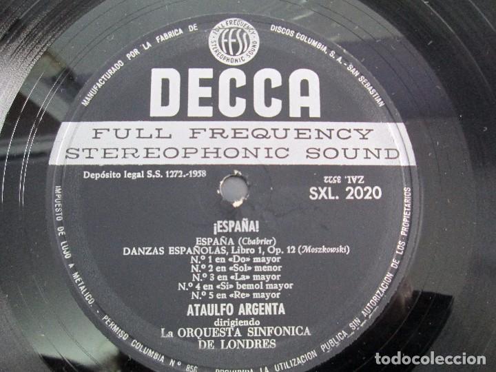 Discos de vinilo: ESPAÑA. ARGENTA. LP VINILO. DECCA 1958. VER FOTOGRAFIAS ADJUNTAS. - Foto 9 - 113633567