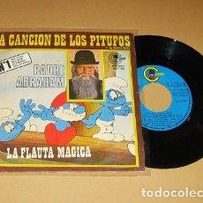 Discos de vinilo: EL PADRE ABRAHAM - LA CANCION DE LOS PITUFOS - SINGLE - 1977. Lote 113674179