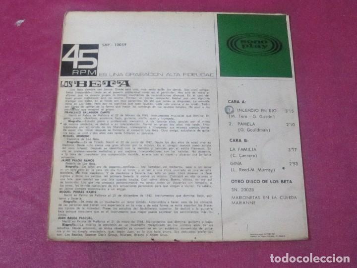 Discos de vinilo: LOS BETA EP SONOPLAY 1967 INCENDIO EN RIO PAMELA LA FAMILIA GINA EP - Foto 5 - 113695179