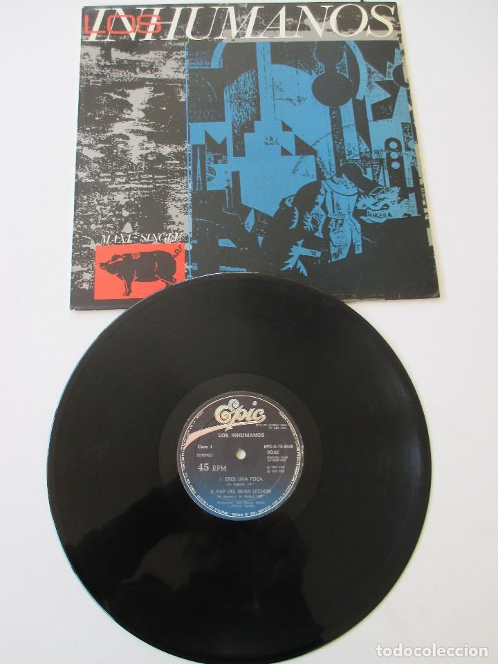 Discos de vinilo: Los Inhumanos Eres una foca/ Rap del gran lechón/ El disc jockey perdió la razón/ Streptease 1984 - Foto 3 - 113722331