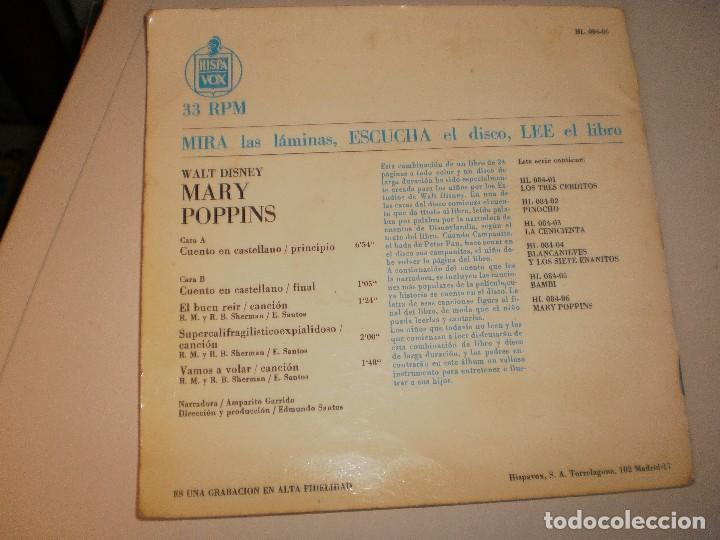 Discos de vinilo: Single. mary poppins. walt disney. disco cuento. 1967 Spain (probado y bien) - Foto 4 - 113811503