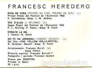 Discos de vinilo: EP FRANCESC HEREDERO : SOC D´ALGU (CONTIENE TAMBIEN VERSION DE SERGE GAINSBOURG : NINA DE CERA) - Foto 3 - 113839739