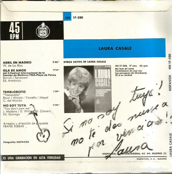 Discos de vinilo: EP LAURA CASALE : ISLA DE AMOR ( PALMA DE MALLORCA ) ( DISCO CON DEDICATORIA DE LAURA ) - Foto 2 - 113840547