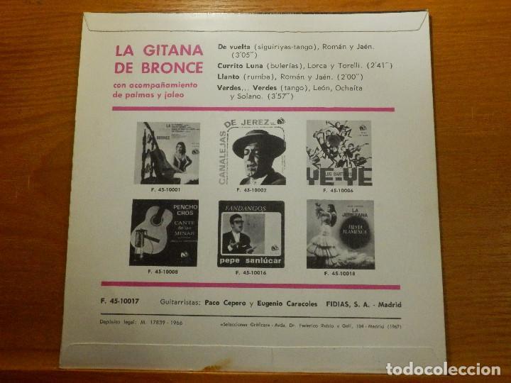 Discos de vinilo: EP - La Gitana de Bronce - De vuelta, Currito luna, Llantos y Verdes verdes - Fidias 1967 - Foto 2 - 113913075