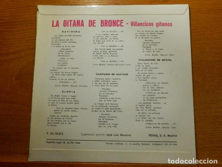 Discos de vinilo: EP - La Gitana de Bronce - Navideña, Gloria, Campanas de Navidad y Villancicos España - Fidias 1967 - Foto 2 - 113913299