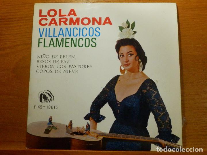 EP - LOLA CARMONA - NIÑO DE BELÉN, BESOS DE PAZ, VIERON LOS PASTORES, COPOS DE NIEVE - FIDIAS 1966 (Música - Discos de Vinilo - EPs - Flamenco, Canción española y Cuplé)
