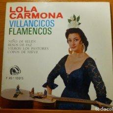Discos de vinilo: EP - LOLA CARMONA - NIÑO DE BELÉN, BESOS DE PAZ, VIERON LOS PASTORES, COPOS DE NIEVE - FIDIAS 1966. Lote 113913783