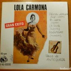Discos de vinilo: EP - LOLA CARMONA - SIENTATE Y ESPERA, MI CARTA, LA TANA, MIENTEME - FIDIAS 1967. Lote 113913923