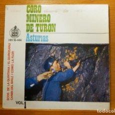 Discos de vinilo: EP - CORO MINERO DE TURON - ECOS DE LA QUINTANA, COMO LA FLOR, CAMIN DEL BAILE EL QUIROSANU HISPAVOX. Lote 113914799