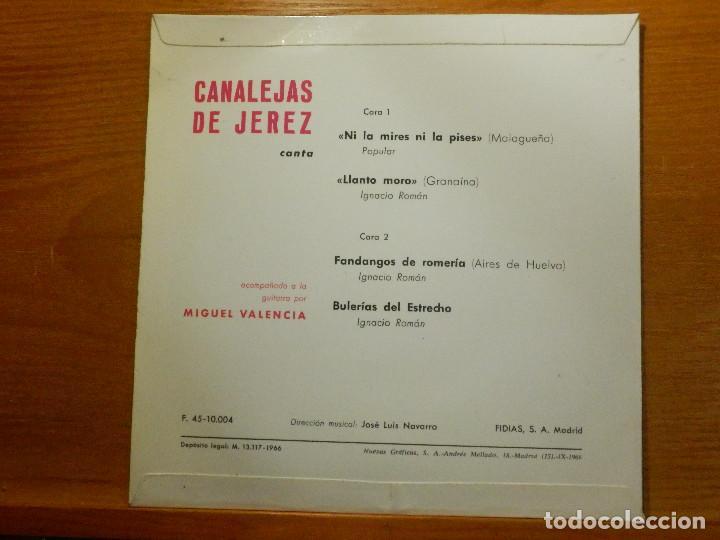 Discos de vinilo: EP - Canalejas de Jerez - Ni la mires ni la pises, Llanto moro, Fandangos de romería, - Fidias 1966 - Foto 2 - 113914999