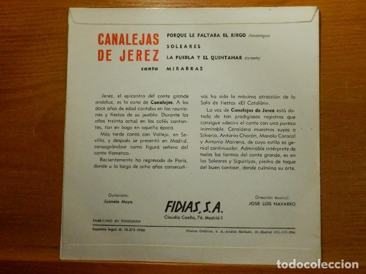 Discos de vinilo: EP - Canalejas de Jerez - Porque le faltaba el riego, Soleares, Mirabras, - Fidias 1966 - Foto 2 - 113915435