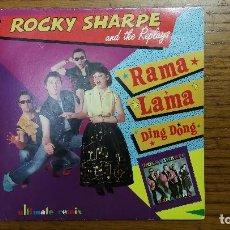 Discos de vinilo: ROCKY SHARPE AND THE REPLAYS_RAMA LAMA DING DONG(ULTIMATE REMIX)_SINGLE 7'' PROMO 1990 COMO NUEVO!!!. Lote 113938343