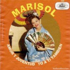 Discos de vinilo: MARISOL AMOR Y JUVENTUD SINGLE EDICION DE MEXICO DE PROMOCION Y FOTO INCLUIDA. Lote 113956511