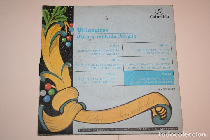 Discos de vinilo: VILLANCICOS nº 6 (Pastores de Belén + al son de panderos) *** SINGLE VINILO (1969) *** COLUMBIA *** - Foto 2 - 113985187