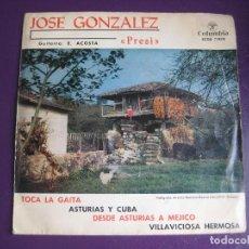 Discos de vinilo: JOSE GONZALEZ PRESI EP COLUMBIA 1963 TOCA LA GAITA/ ASTURIAS Y CUBA +2 FOLK ASTURIANO. Lote 114000719