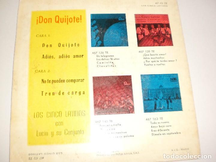 Discos de vinilo: single los 5 latinos. Don Quijote + 3 temas. fontana 1960 spain (disco probado y bien) - Foto 2 - 114038059