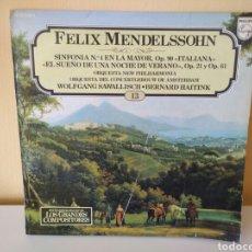Discos de vinilo: FELIX MENDELSSOHN : ITALIANA ; EL SUEÑO DE UNA NOCHE DE VERANO. ENCICLOPEDIA SALVAT 13. Lote 114069163