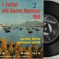 Disques de vinyle: 7º FESTIVAL DE LA CANCION NAPOLETANA EP AURELIO FIERRO / GERMANA CAROLI. ESPAÑA 1959. Lote 200844965