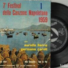 Disques de vinyle: 7º FESTIVAL DE LA CANCION NAPOLETANA EP AURELIO FIERRO / GERMANA CAROLI. ESPAÑA 1959. Lote 200844892