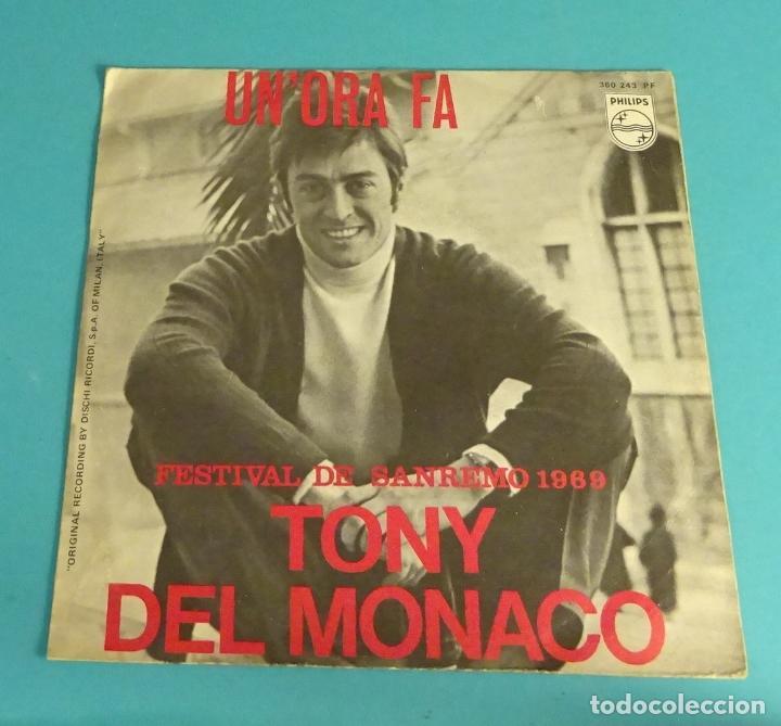 TONY DEL MONACO. UN'ORA FA. SE C'E' PECCATO. FESTIVAL DE SANREMO 1969 (Música - Discos - Singles Vinilo - Otros Festivales de la Canción)