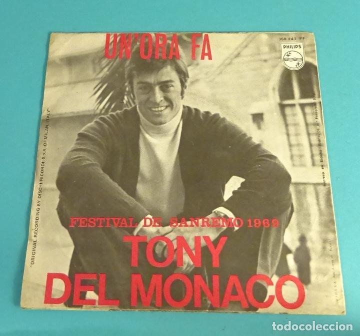 Discos de vinilo: TONY DEL MONACO. UNORA FA. SE CE PECCATO. FESTIVAL DE SANREMO 1969 - Foto 2 - 114091935