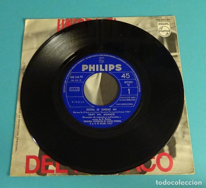 Discos de vinilo: TONY DEL MONACO. UNORA FA. SE CE PECCATO. FESTIVAL DE SANREMO 1969 - Foto 3 - 114091935