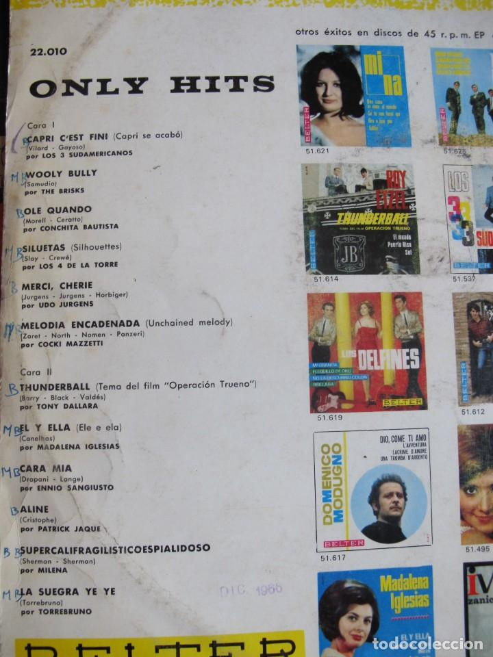 Discos de vinilo: LP - ONLY HITS - VARIOS (SPAIN, BELTER 1966, VER FOTO ADJUNTA) - Foto 2 - 114097871