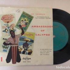 Discos de vinilo: ROY THOMPSON - AMBASSADOR OF CALYPSO (JAMAICA) / EP DURIUM ECGE 75075 - ED ESP - RARO. Lote 114145095