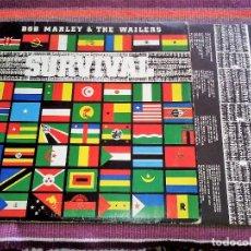 Discos de vinilo: BOB MARLEY & THE WAILERS, SURVIVAL, ISLAND RECORDS, 1989, MADE SPAIN ENCARTE Y LETRAS. Lote 114161483