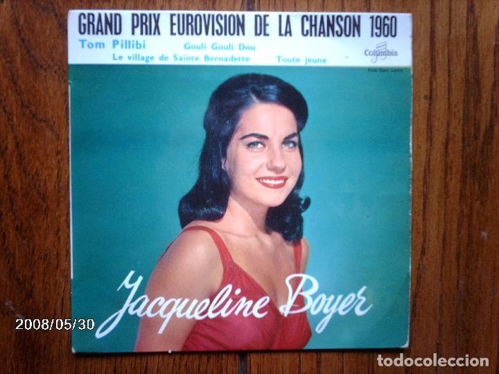 JACQUELINE BOYER - GRAND PRIX EUROVISION DE LA CHANSON 1960 - TOM PILLIBI + GOULI GOULI DOU + 2 (Música - Discos de Vinilo - EPs - Festival de Eurovisión)