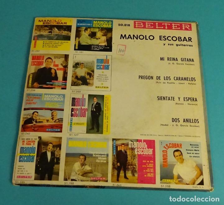 Discos de vinilo: MANOLO ESCOBAR. MI REINA GITANA. PREGÓN DE LOS CARAMELOS. SIÉNTATE Y ESPERA. DOS ANILLOS - Foto 2 - 114186375