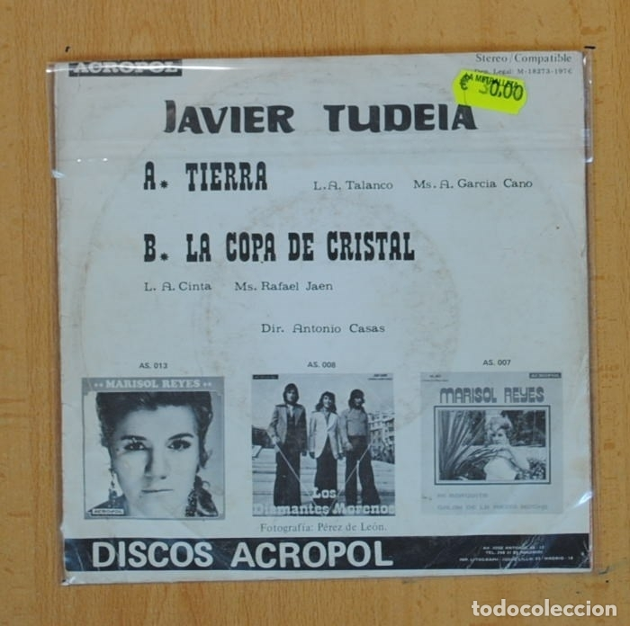 Discos de vinilo: JAVIER TUDEIA - TIERRA / LA COPA DE CRISTAL - SINGLE - Foto 2 - 114203147