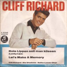Discos de vinilo: SINGLE-CLIFF RICHARD LUCKY LIPS COLUMBIA 22563 ALEMANIA 196??? CANTANDO EN ALEMAN. Lote 114244355