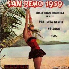 Discos de vinilo: FESTIVAL DE SAN REMO 1959, EP, CONJUNTO RECORD - PIOVE + 3, AÑO 1959. Lote 114277355