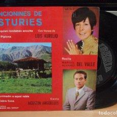 Discos de vinilo: CANCIONES DE ASTURIES VERSOS DE LUIS AURELIO RECITA MARISOL DEL VALLE CANTA AGUSTIN ARGUELLES EP . Lote 114283623