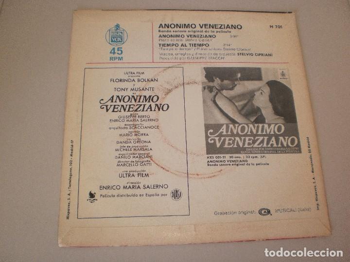 Discos de vinilo: single anónimo veneziano. tiempo al tiempo. hispavox 1971 spain (disco probado y bien) - Foto 2 - 114312355