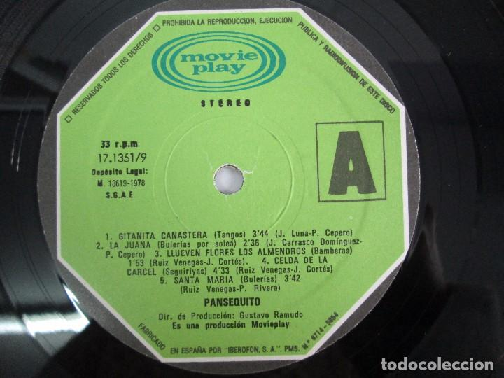 Discos de vinilo: PANSEQUITO. LP VINILO. MOVIEPLAY. 1978. VER FOTOGRAFIAS ADJUNTAS - Foto 4 - 114342559