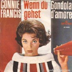 Discos de vinilo: SINGLE-CONNIE FRANCIS WENN DU GEHST/GONDOLA D´AMORE MGM 61065 CANTA EN ALEMAN GERMANY 196???. Lote 114430719