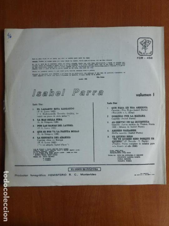 Discos de vinilo: Isabel Parra – Isabel Parra Vol. I - Peña De Los Parra - Uruguay - Foto 3 - 114490195