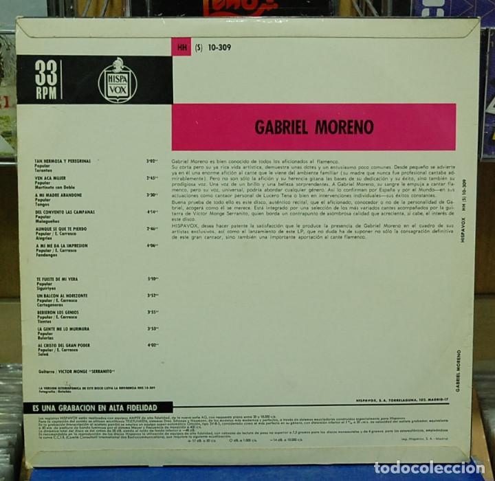 Discos de vinilo: Gabriel Moreno. Cante flamenco. Hispavox 1967. ref. HH 10-309. LP - Foto 2 - 114517895