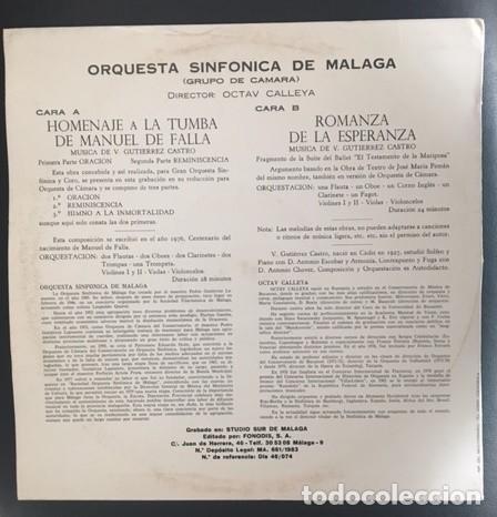 Discos de vinilo: HOMENAJE A LA TUMBA DE MANUEL DE FALLA - GUTIÉRREZ CASTRO - ORQUESTA SINFÓNICA DE MÁLAGA - Foto 2 - 114656759