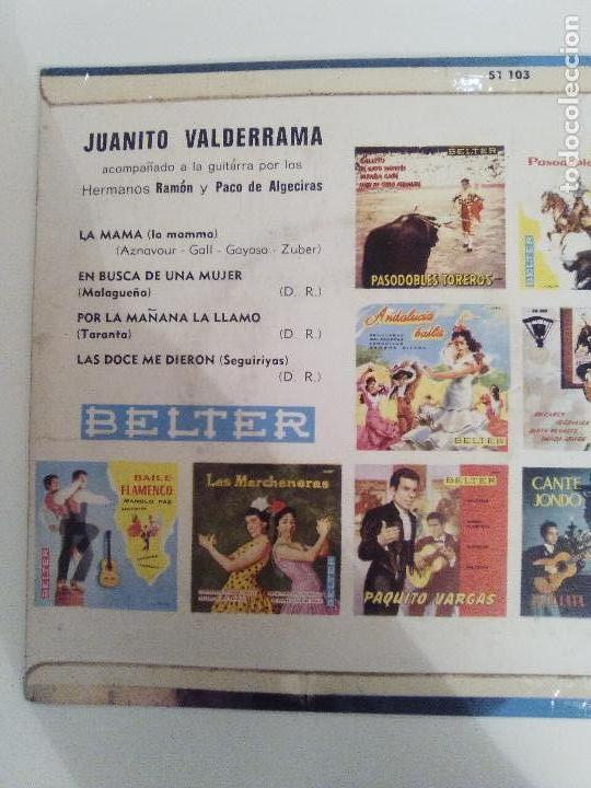 Discos de vinilo: JUANITO VALDERRAMA La mama / En busca de una mujer / Por la mañana / Las doce ( BELTER FRANCE ) - Foto 2 - 114740671