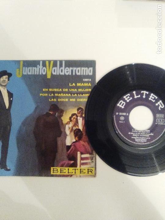 Discos de vinilo: JUANITO VALDERRAMA La mama / En busca de una mujer / Por la mañana / Las doce ( BELTER FRANCE ) - Foto 3 - 114740671