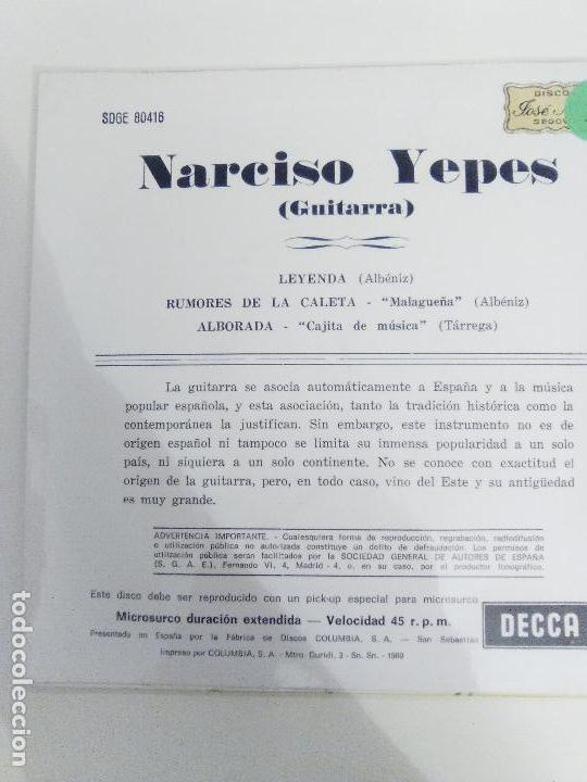 Discos de vinilo: NARCISO YEPES Leyenda Rumores de la Caleta Alborada ( 1969 DECCA ESPAÑA ) ALBENIZ TARREGA - Foto 2 - 114740791