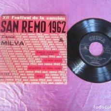 Discos de vinilo: XII FESTIVAL DE LA CANCION DE SAN REMO 1962 CANTA MILVA TANGO ITALIANO TU NON ESISTI... EP VINILO. Lote 114768523