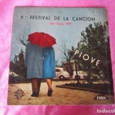 Discos de vinilo: 9 FESTIVAL DE LA CANCION DE SAN REMO 1959 PIOVE. Lote 114773399