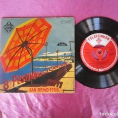 Discos de vinilo: 8º FESTIVAL DE LA CANCION. SAN REMO 1958 EP VINILO . Lote 114773767
