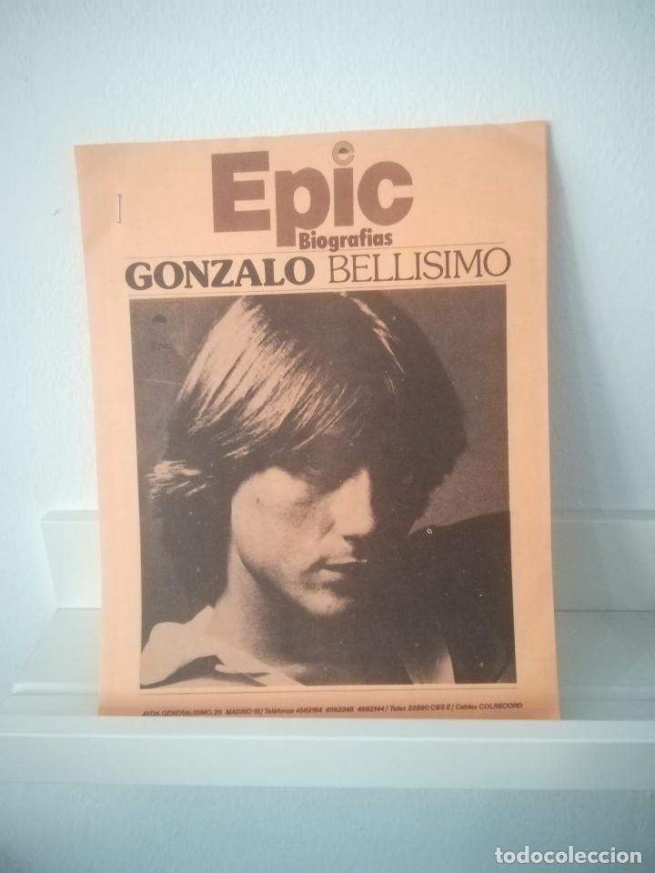 Discos de vinilo: GONZALO - SOY BELLÍSIMO - MAXI-SINGLE EPIC -1977 + HOJAS DE PROMOCIÓN INCLUIDOS - Foto 3 - 114775391