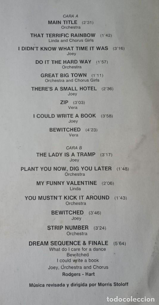 Discos de vinilo: HISTORIA DE LA MÚSICA EN EL CINE 7: PAL JOEY (CAPITOL EMI ODEON BELTER 1982) - Foto 3 - 114851599
